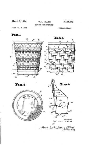 索倫森(Sorensen)的一位前輩已為這種可盛放熱飲料的杯子申請了專利。 (圖片由美國專利商標局提供)