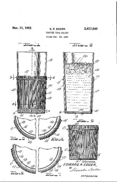 Egger的咖啡杯便攜式杯墊專利。 (圖片由美國專利商標局提供)