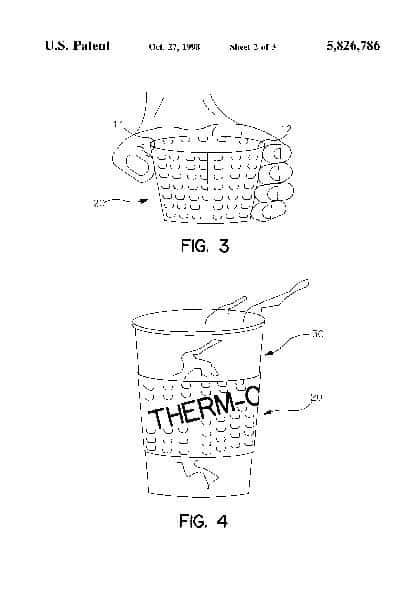 索倫森(Sorensen)的咖啡套筒隔熱材料的特寫鏡頭在他的專利文件中。 (圖片由美國專利商標局提供)